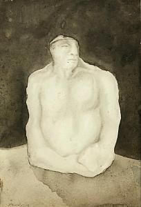 Anil Karanjai, The Builder (watercolour), 1979