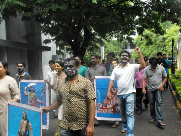 Procession with posters during the Asura Week