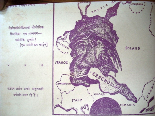 Cartoon 2: Vishvamitra, March 1938. Caption: A geographical study of Czechoslovakia in the mouth of Germany, An American cartoon.