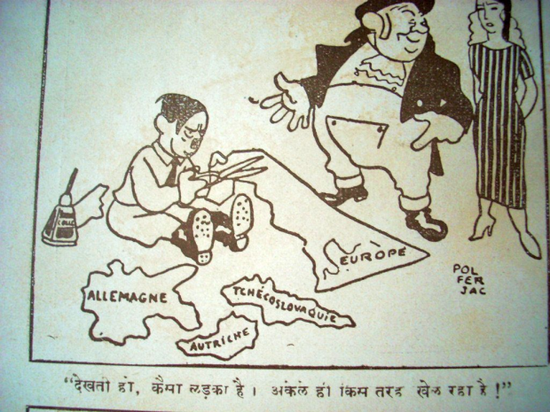 Cartoon 3: Vishvamitra, October 1938. Caption: See, how [intelligent] this boy is! How is he playing on his own!