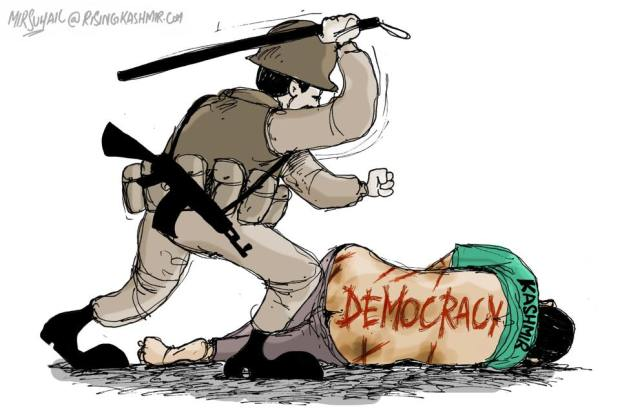 "A cartoon by Mir Suhail, a political cartoonist based in Kashmir, manifests how the Indian security forces teach ""lessons of democracy"" to Kashmiris, a ""democracy"" that looks deceptive and coercive when it works under the patronage of 5 lakh jackboots, and a barrel of guns, including such draconian laws as the AFPSA and PSA to maintain its legitimacy and authority in Kashmir."
