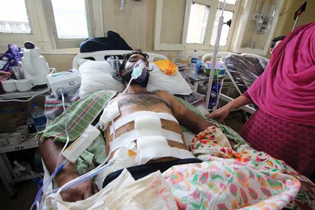 Ghulam Mohiuddin, admitted in ward 16 of SMHS, was hit by more than 200 pellets in his body.